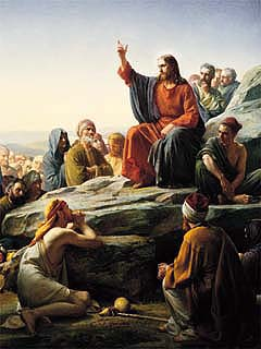 Jesus teaching the people the Gospel.