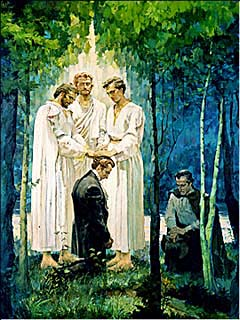 Painting of Peter, James, and John conferring the Melchizedek Priesthood upon Joseph Smith and Oliver Cowdery.